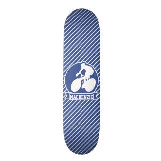 Cycling; Blue & White Stripes, Sports Skateboard Deck