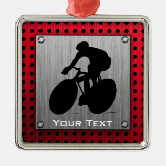 Cycling; Brushed metal look Silver-Colored Square Ornament