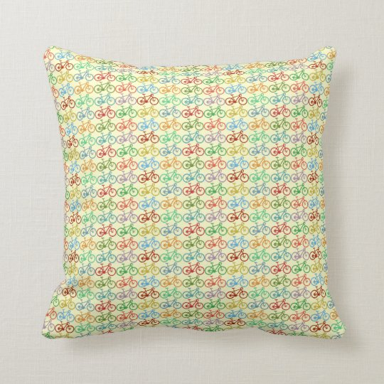 cycling . colour bikes throw pillow