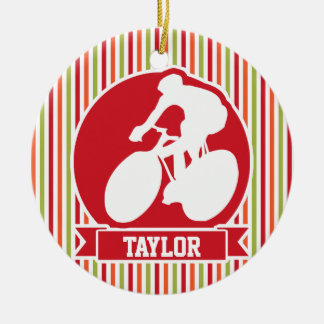 Cycling, Cyclist; Red, Orange Green Stripes Ceramic Ornament