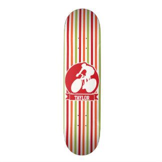 Cycling, Cyclist; Red, Orange Green Stripes Custom Skate Board
