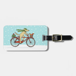 Cycling Dog and Squirrel Whimsical Winter Holiday Luggage Tag
