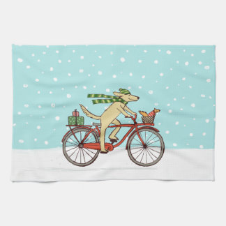Cycling Dog and Squirrel Winter Holiday Kitchen Towel