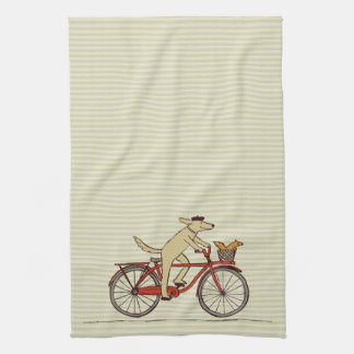 Cycling Dog with Squirrel Friend - Fun Animal Art Kitchen Towel