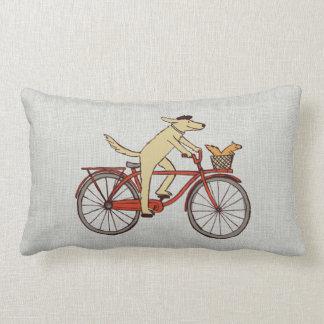 Cycling Dog with Squirrel Friend - Fun Animal Art Lumbar Pillow
