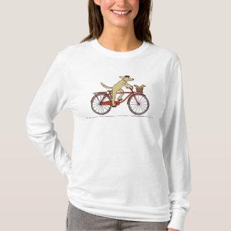 Cycling Dog with Squirrel - Fun Animal Art T-Shirt