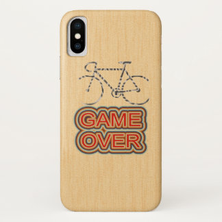 Cycling Game Over. Wood Background iPhone X Case