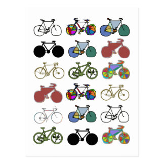 cycling grouped illustrations postcard
