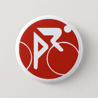 Cycling icon, red and white 2 inch round button