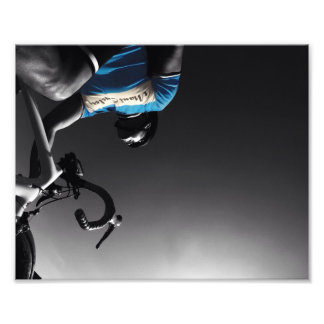 Cycling in black and white photo print