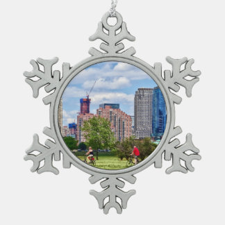 Cycling in Liberty State Park Snowflake Pewter Christmas Ornament