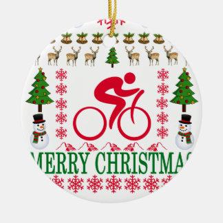 CYCLING MERRY CHRISTMAS . CERAMIC ORNAMENT