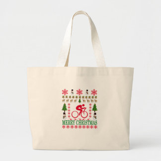 CYCLING MERRY CHRISTMAS . LARGE TOTE BAG