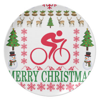 CYCLING MERRY CHRISTMAS . PLATE