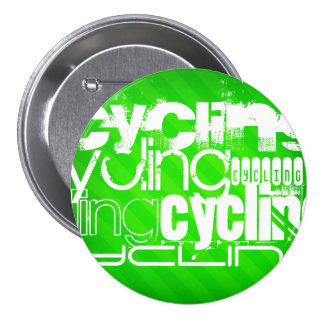 Cycling; Neon Green Stripes 3 Inch Round Button