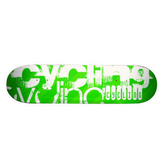 Cycling; Neon Green Stripes Skate Board