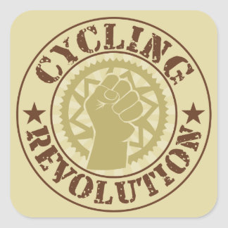 Cycling revolution badge square sticker