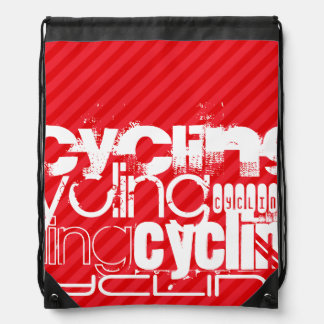 Cycling; Scarlet Red Stripes Cinch Bags