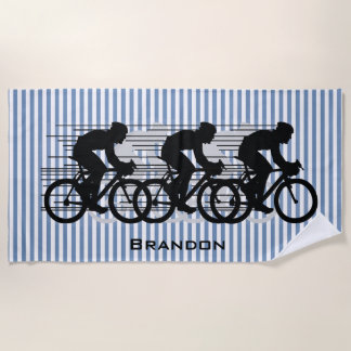 Cycling Stripes Design Beach Towel