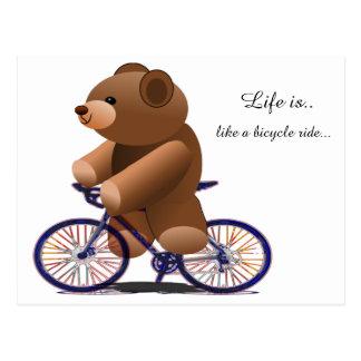 Cycling Teddy Bear Print Postcard