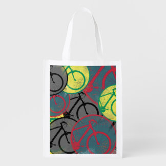 cycling themed to go shopping reusable grocery bags