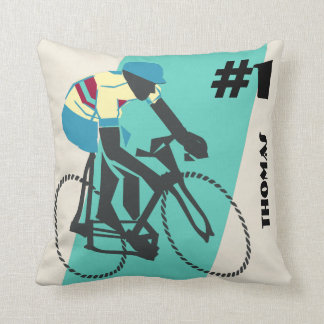Cycling (Turquoise) Throw Pillow