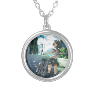 Cycling Under The Sun Silver Plated Necklace