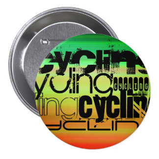 Cycling; Vibrant Green, Orange, & Yellow 3 Inch Round Button
