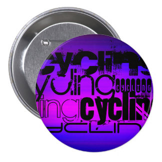 Cycling; Vibrant Violet Blue and Magenta 3 Inch Round Button