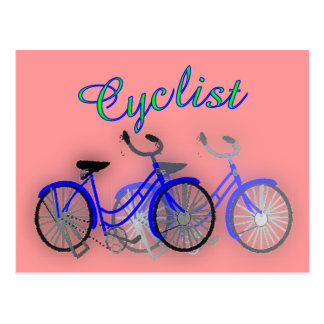 Cyclist (1950 Bicycle) Watercolor drawing Design Postcard