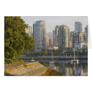 Cyclist along the Seawall Trail in downtown Card