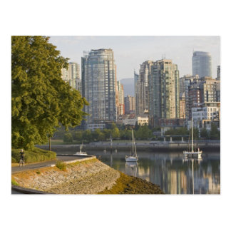 Cyclist along the Seawall Trail in downtown Postcard