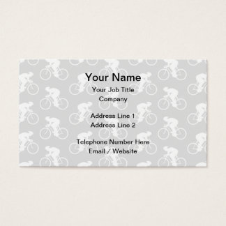 Cyclist and Bicycle Pattern in Gray. Business Card