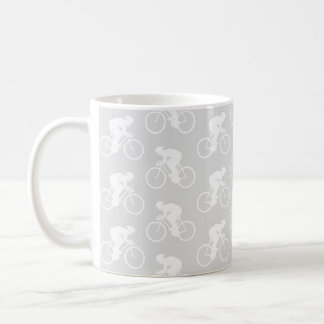 Cyclist and Bicycle Pattern in Gray Mugs