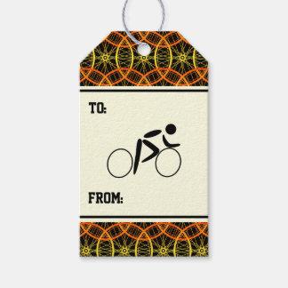 Cyclist bicycle wheel pattern orange black gift tags