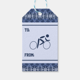 Cyclist blue bicycle wheel pattern gift tags