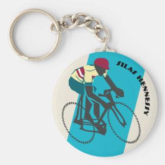 Cyclist (Blue) Keychain