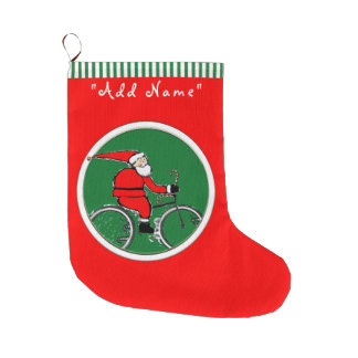 Cyclist Christmas Large Christmas Stocking