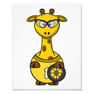 Cyclist Giraffe Photo Print