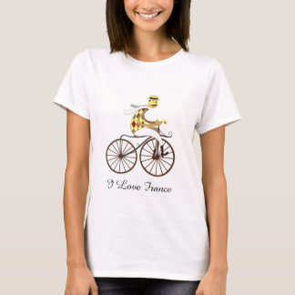 Cyclist on a bicycle in retro style with text T-Shirt