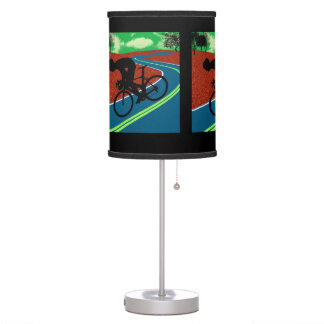 Cyclist on Curved Highway Table Lamp