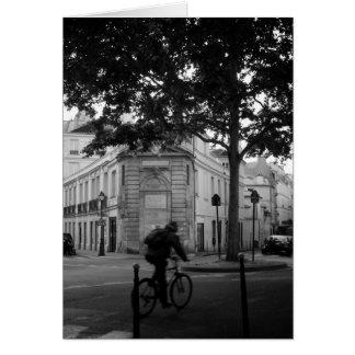 Cyclist on rue Charlot, Paris, France Card