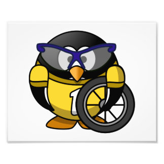 Cyclist Penguin in Yellow Art Photo