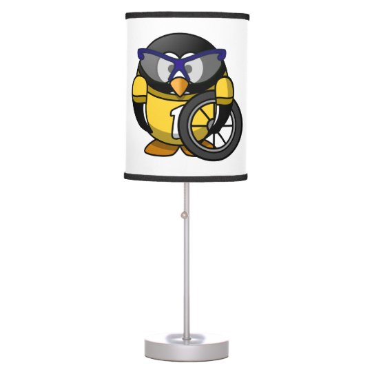 Cyclist Penguin in Yellow Table Lamp