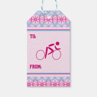 Cyclist pink blue bicycle wheel pattern pack of gift tags