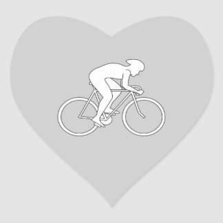 Cyclist Racer. Heart Sticker