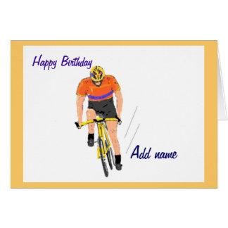 Cyclist Racing birthday card. Change name. Card
