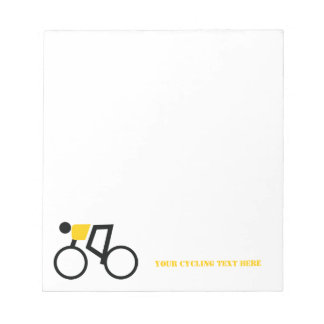 Cyclist riding his bicycle custom notepad