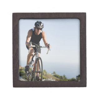 Cyclist road riding in Malibu Premium Jewelry Boxes