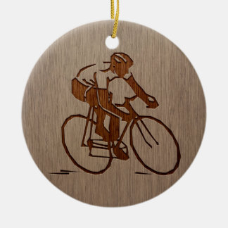 Cyclist silhouette engraved on wood design ceramic ornament